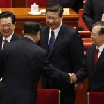 March 3: Hu Jintao, Xi Jinping, Wen Jiabao, and Jia Qinglin greet each other. (ChinaNews)