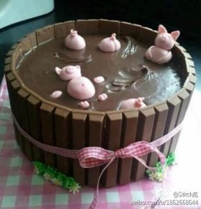 "Chocolate inspired by the ""pigfestation."" (via Weibo; h/t FT)"