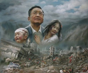 """Grandpa Wen"" famously spoke to Sichuan earthquake victims on the ground. Some saw his hands-on approach as a brilliant publicity stunt. (artist unknown)"