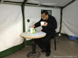Prime Minister Li Keqiang at the site of the Sichuan earthquake. (CCTV)