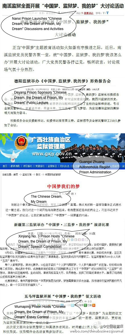 "China Business Journal's post on the ""Chinese dream, the dream of prison."" (Weibo)"