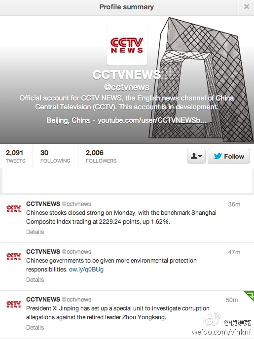 "CCTV Claims Twitter Account ""Targeted"""