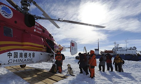 Chinese Helicopter Mounts Antarctic Rescue