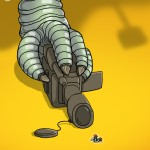 A powerful claw holds a video camera while a fly swatter looms over two busy insects. Xi Jinping v