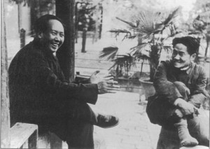 Mao Zedong with his oldest son Mao Anying, 1949.