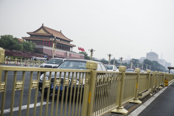 New Barriers Go Up Along Tiananmen Square