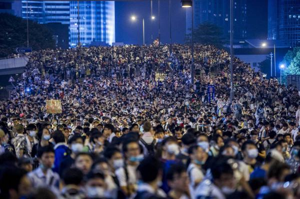 Hong Kong Protesters Flood the Streets on National Day
