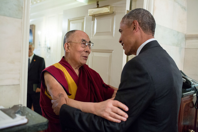 Obama meets the Dalai Lama, June 15, 2016. (Source: Flickr/The White House)