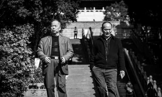 Photo: Two Elderly Men at Leifong Pagoda, by Dickson Phua