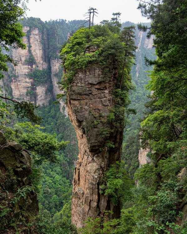 """A lone pillar-shaped outcropping topped with several trees stands out among the peaks of Heavenly Pillar in Zhangjiajie National Forest Park, in northwest Hunan Province. The mountains of Heavenly Pillar reportedly inspired the Hallelujah Mountains in the film """"Avatar."""""""