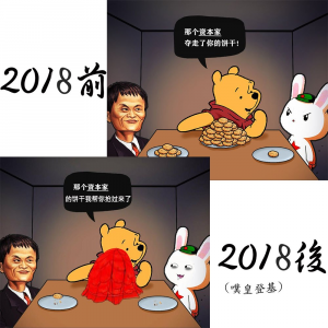 Winnie the Pooh, sitting in front of a plate stacked high with cookies, points at Jack Ma, who has a few cookies, and talks to a rabbit wearing a Red Star cap, who has only one cookie.