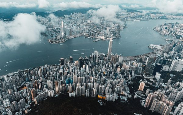 A panoramic shot of Hong Kong taken from a drone